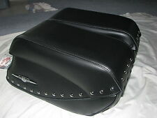 NEW OEM SUZUKI 05-09 C90 BOULEVARD 1500 STUDDED SLANT LEATHER RIGID SADDLEBAGS