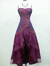 Cherlone Plus Size Satin Dark Purple Lace Ball Gown Wedding/Evening Dress 18-20