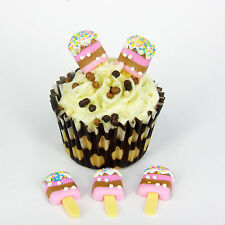 6 x ICE CREAM  Plastic Cupcake Topper Card Making Cake Decoration  CT1