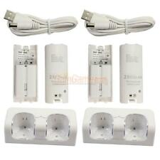 2X Remote Controller Charger Dock Station + 4X 2800mAh Battery for Wii White