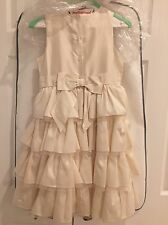 Janie And Jack Dress Size 8 Ivory Cream Silk Tulle Layers Tiered Tiers Bow