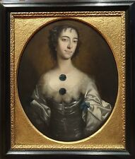 Fine Large 17th Century English Master Portrait Lady Blue Dress Antique Painting