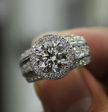 3.10 Ct. Natural Round Cut Halo 3-Row Pave Diamond Engagement Ring - GIA Cert