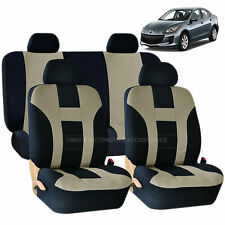 BEIGE & BLACK DOUBLE STITCH SEAT COVERS 8PC SET for MAZDA 3 5 CX-9
