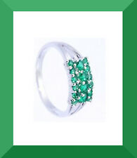 New Green Emerald Cluster Silver Gemstone Ring Size 8.75 FREE SHIPPING #121