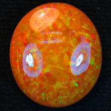 11.85 ct Natural Honey Colored Low Dome Mezezzo Opal Rainbow