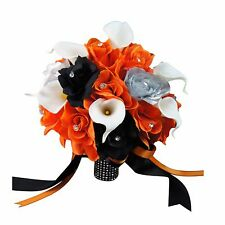 "10"" Wedding Bouquet - Orange, Black, and Silver Roses with Calla Lily - Faux"