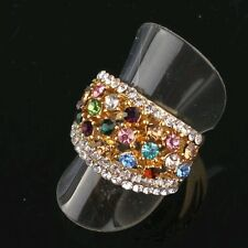 18k Yellow Gold Plated Size 7.5 Red Garnet Ruby Austrian Crystal Ring Gift D047