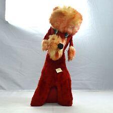 """Vintage 50s Red Retro SUPERIOR TOY NOVELTY Poodle Dog Plush Stuffed Animal 19"""""""