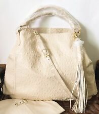"G.I.L.I. Leather Extra Large 20"" x 15"" Roma Tote Hobo Handbag Ivory Ostrich NWT"