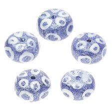 Oeil bleu imprimé style peint à la main donut verre perles pack de 5 (C51/2)