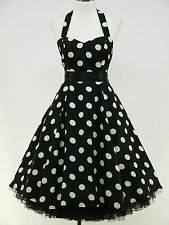 dress190 CHIFFON BLACK POLKA DOT 50's ROCKABILLY SWING PROM VINTAGE DRESS 24-26