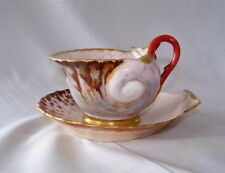 1800's Paris Flamer A Fleury Porcelain Shell-Form Cup & Saucer / Iron Red Mark