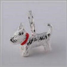 LOVELY LITTLE SILVER WESTIE DOG WITH RED COLLAR CLIP ON CHARM-925 SILVER PLATE