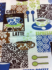CAFE CUPS 100 % COTTON FABRIC ONE YARD/SEWING SUPPLIES/QUILTING/HOME DECOR