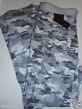 NWT PHAT FARM 34 x 34 Relaxed Straight UTILITY CARGO 10 Pocket Gray Camo Pants