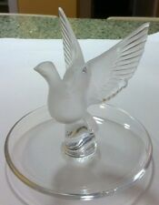 Lalique Thalie, Frosted Open Winged Dove Ring Pin Dish Signed
