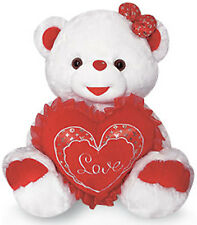 "14"" Teddy Bear Plush Stuffed Animal Doll Toy White Red I Love U Heart NEW"