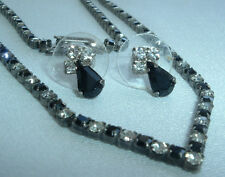 "VINTAGE SILVERTONE BLACK WHITE PRONG SET RHINESTONE ""V"" NECKLACE & EARRING SET"