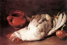 Nice oil painting giacomo ceruti - still life with hen, onion and pot on table