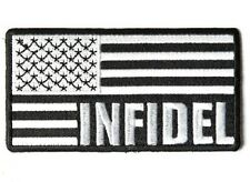 "(G45) INFIDEL B & W AMERICAN FLAG 3.75"" x 2"" sew / iron on patch (4085) Biker"