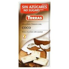 4 X TORRAS GLUTEN AND SUGAR FREE WHITE CHOCOLATE WITH COCONUT 4 X 75g.