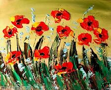 POPPIES   MODERN ABSTRACT ORIGINAL OIL PAINTING  TEXTU RED CANVAS DERdfb
