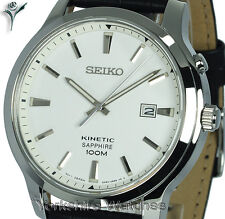 New SEIKO KINETIC SAPPHIRE WHITE FACE With BLACK LEATHER BUCKLE STRAP SKA743P1