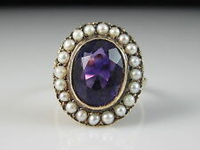 Antique 14K Rose Gold Amethyst Seed Pearl Ring Victorian Period Vintage Estate