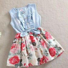 Kids Girls Sleeveless Jeans Dress Demin Flower Skirts Sundress Toddler Clothes