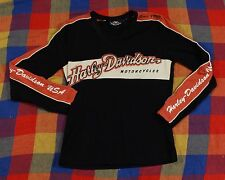 Harley Davidson Long Sleeve T Shirt Sz S Black Orange White Motor Cycles Top