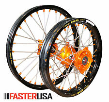 KTM WHEELS KTM85SX 12-17 SET EXCEL RIMS FASTER USA HUBS NEW 19/16 ORANGE NIPPLES