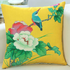 Mixed Color Floral Bird Cushion Cover Home Sofa Big Flower Print Pillow Case New