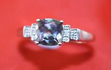 100%  Vintage 9ct White gold huge Mystic Topaz ring with tiny Diamond.