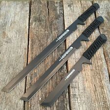 3PC SET OF HUNTING NINJA MACHETE KNIFE MILITARY TACTICAL SURVIVAL SWORD COMBAT-S