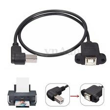 Right-Angle USB 2.0 B Male to USB B Female Socket Panel Extension Cable Cord