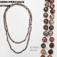 "60"" Long Multi Color Red Semi Precious 8mm Stone Beaded Wrap Around Necklace"
