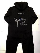 Personalised Diamante Dance Onesie.Born To Dance Gymnastic Leotard.Hoodie Gift