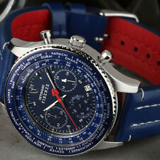 DETOMASO FIRENZE Mens Watch Chronograph Blue Stainless Steel Leather Strap New