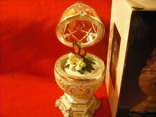 """New Royal Limited Jeweled Spinning Butterfly Egg """"Love Is Splendored"""" Music Box"""