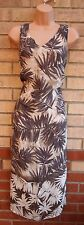 MARKS SPENCER CHIFFON PALM TROPICAL BROWN CREAM LONG TUNIC TUBE VTG DRESS 18