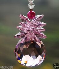 pink crystal feng shui 30mm ball hanging Christmas window suncatcher ornament