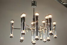 Steel Chrome Chandelier Mid Century Modern 25 light Gaetano Sciolari Design