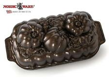 Nordicware 3D BRONZE Fall BOTANICAL PUMPKIN LOAF PAN Cake Bread Jello Meatloaf