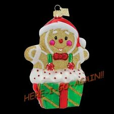 Radko SURPRISE! Gingerbread Man in the box suspenders/bow-tie Christmas Ornament