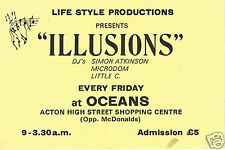 ILLUSIONS Rave Flyer Flyers 1989 A6 Rare Oceans Acton Shopping Centre London