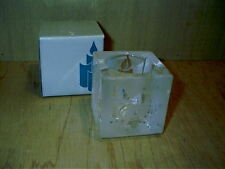 "Partylite Holiday Glow Glass Votive Holder Frosted Design 2 1/2"" Square P0701"