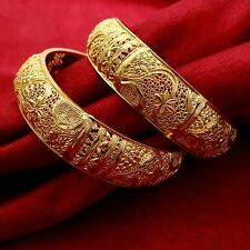 Traditional Indian 18K Goldplated Kada Bracelets Bangles Women Jewelery 2*12