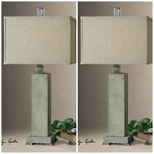 TWO NEW CONCRETE TABLE LAMPS BRUSHED ALUMINUM ACCENTS DESK LIGHT INSIDE OR OUT
