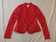 Anthropologie Elevenses Women's Cropped Field Jacket Blazer Red Size 0 NWT
